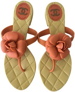 Chanel Camellia Prada Gucci Dior Beige + Orange Sandals