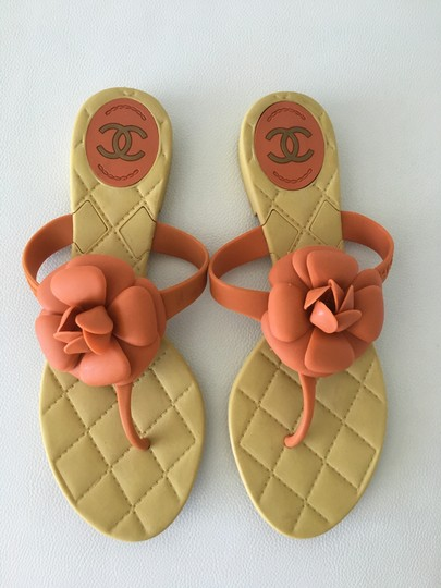 Chanel Camellia Prada Gucci Dior Beige + Orange Sandals Image 2