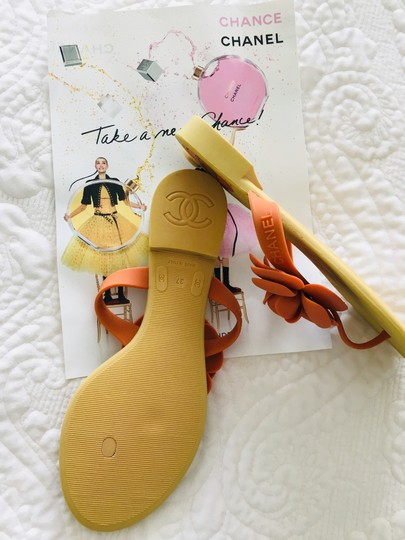 Chanel Camellia Prada Gucci Dior Beige + Orange Sandals Image 3