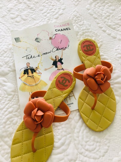 Chanel Camellia Prada Gucci Dior Beige + Orange Sandals Image 4