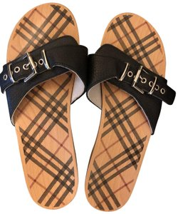 Burberry Black and Tan Sandals