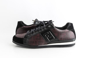 Fendi Black Suede Coated Canvas Zucca Print Low Top Sneakers Shoes