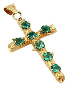 Estate 18k Yellow Gold 2.00ct Fancy Colombian Emerald Bamboo Cross Pendant