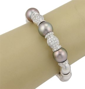 Estate 18k W. Gold Italian South Sea Pearl 1.75ct Diamond Bangle Bracelet