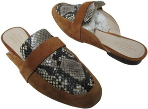 Cole Haan Suede Snake Leather brown, beige, ivory Mules