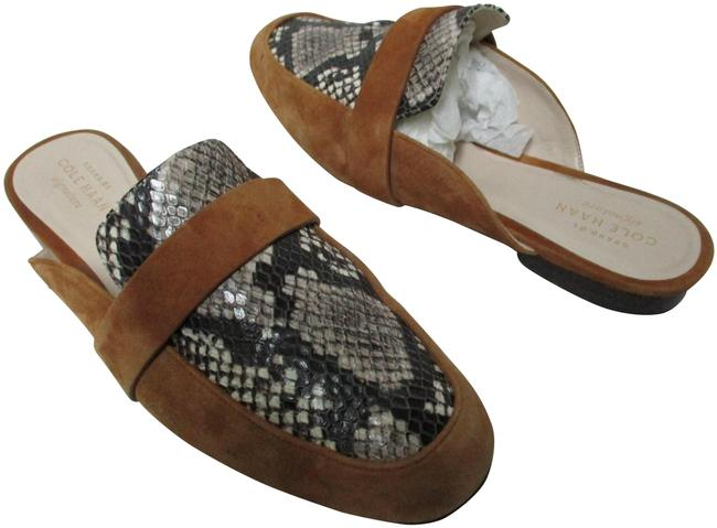 Item - Brown Beige Ivory Grand Signature Suede Snake Emboss Leather 7.5 Mules/Slides Size US 7 Regular (M, B)