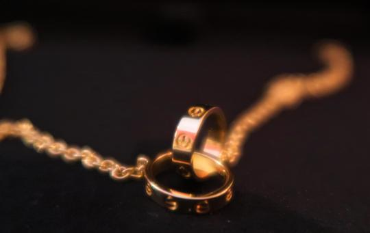 Cartier Cartier Love necklace 18K Yellow Gold w/ Mini Double Ring Pendant Image 5