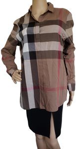 Burberry Nova Check Plaid Monogram Longsleeve Cotton Top Brown