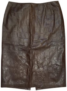 Lafayette 148 New York Ny Brown Leather Pencil Skirt Chestnut