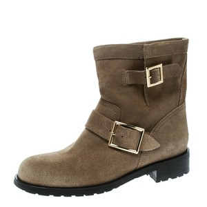 41c932ceecd80 Jimmy Choo Suede Detail Rubber Leather Beige Boots