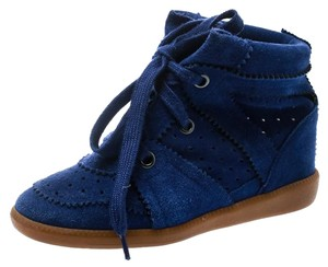 Isabel Marant Suede Lace Leather Rubber Blue Wedges