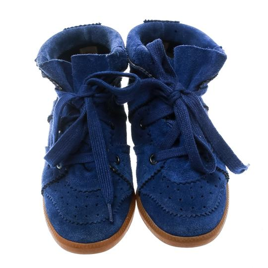 Isabel Marant Suede Lace Leather Rubber Blue Wedges Image 1