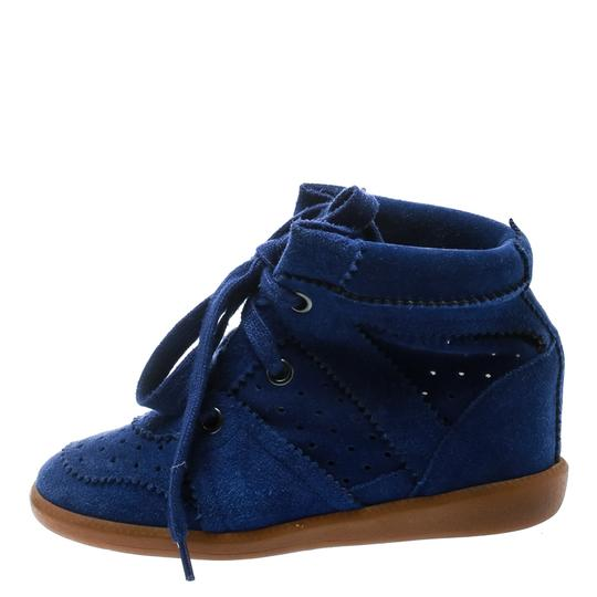 Isabel Marant Suede Lace Leather Rubber Blue Wedges Image 3