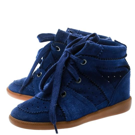Isabel Marant Suede Lace Leather Rubber Blue Wedges Image 4