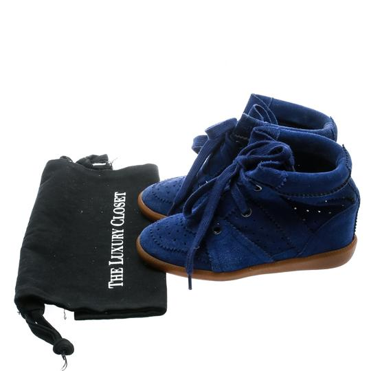 Isabel Marant Suede Lace Leather Rubber Blue Wedges Image 7