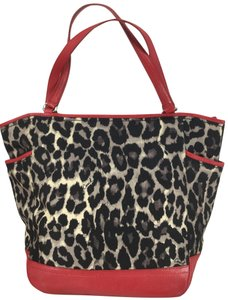 Coach Tote in Leopard print with Red Leather trim