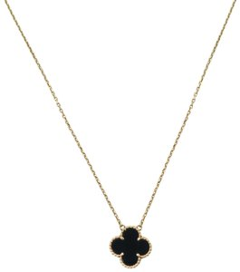 Van Cleef & Arpels Yellow Gold Onyx Vintage Alhambra Pendant Necklace