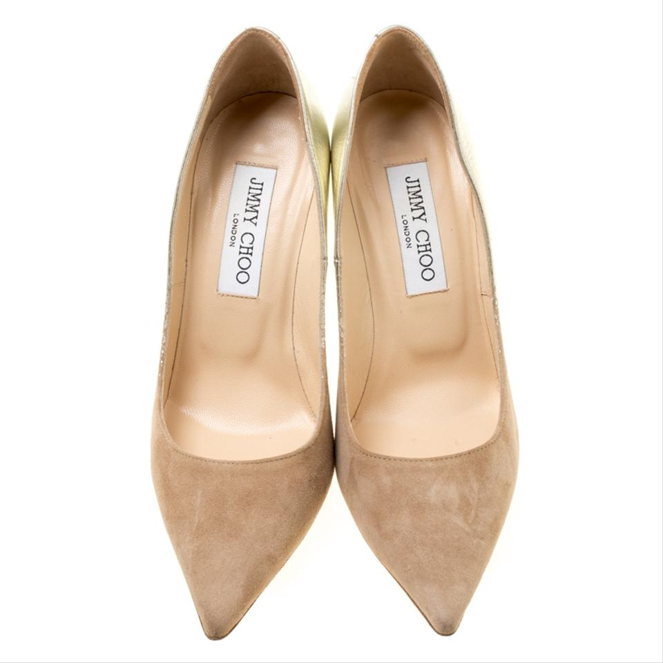 11b3a12dcf893 Jimmy Choo Suede Pointed Toe Decollete Leather Beige Pumps Image 7. 12345678