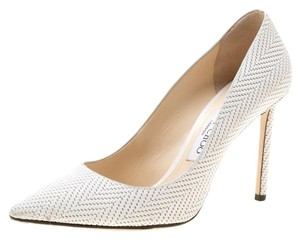Jimmy Choo Leather Nubuck Pointed Toe White Pumps