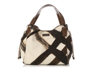 Burberry Bb.q0513.05 Plaid Tote in Beige