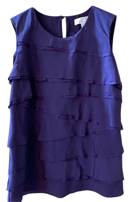 Item - Purple Ruffle Front Medium Shell Sleeveless Condition Is Pre-owned. Shipped with Usps First 19 Blouse Size 8 (M)