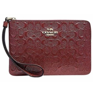 Coach Phone Case Pouch Vernis Vernice Wallet Travel Pouch Pochette Woc Purse Cosmetic Cc Logo Wristlet in Red