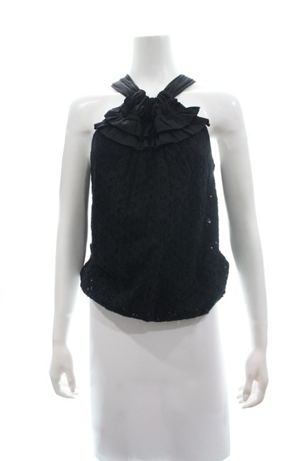 Item - L Sleeveless with Ruffled Neckline Size Black Top