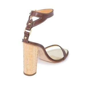 Dsquared2 D2 Women Straw Heel Genuine Leather Brown & Gold Sandals