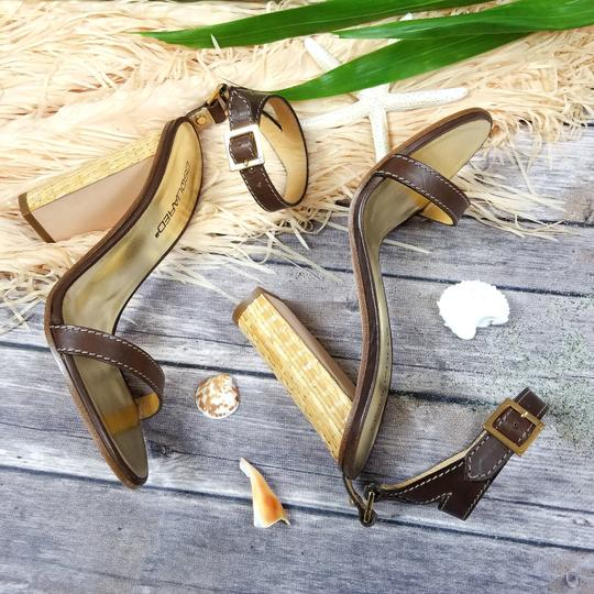 Dsquared2 D2 Women Straw Heel Genuine Leather Brown & Gold Sandals Image 10