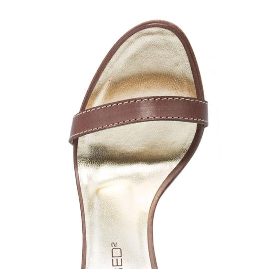 Dsquared2 D2 Women Straw Heel Genuine Leather Brown & Gold Sandals Image 2