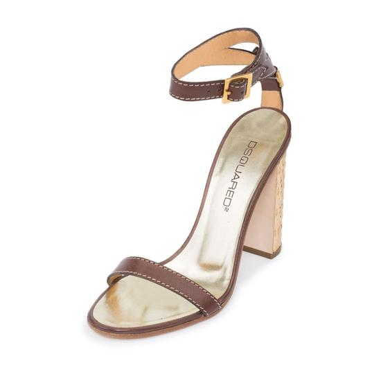 Dsquared2 D2 Women Straw Heel Genuine Leather Brown & Gold Sandals Image 3
