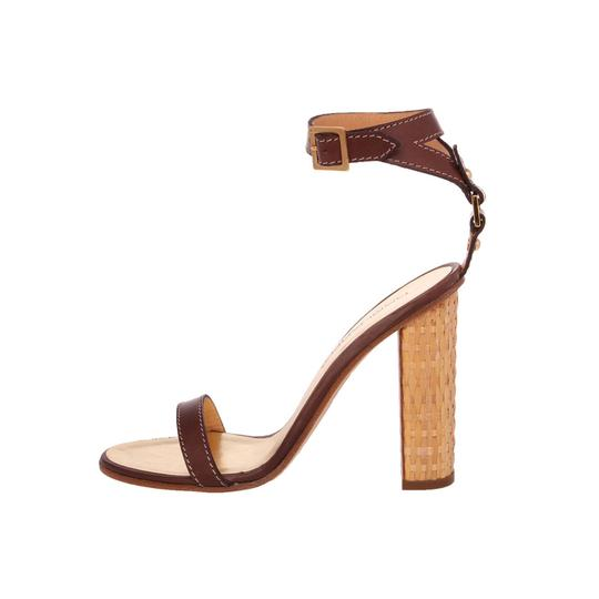 Dsquared2 D2 Women Straw Heel Genuine Leather Brown & Gold Sandals Image 4