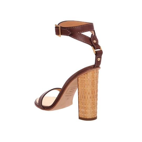Dsquared2 D2 Women Straw Heel Genuine Leather Brown & Gold Sandals Image 7
