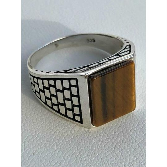 Harlembling Harlembling Real Solid 925 Sterling Silver Tiger Eye Square Ring Image 1