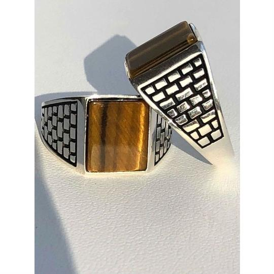 Harlembling Harlembling Real Solid 925 Sterling Silver Tiger Eye Square Ring Image 6