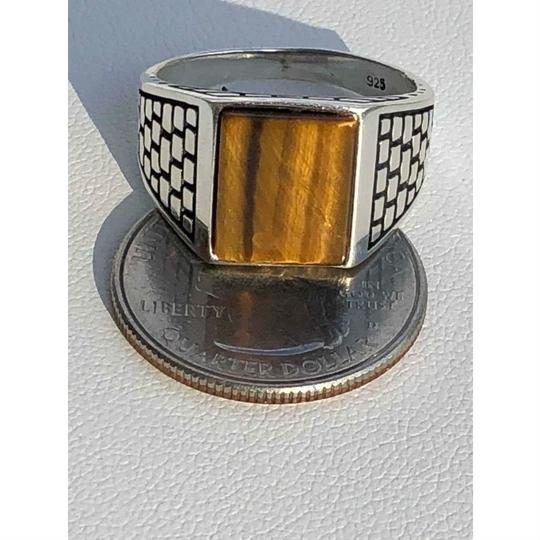 Harlembling Harlembling Real Solid 925 Sterling Silver Tiger Eye Square Ring Image 7