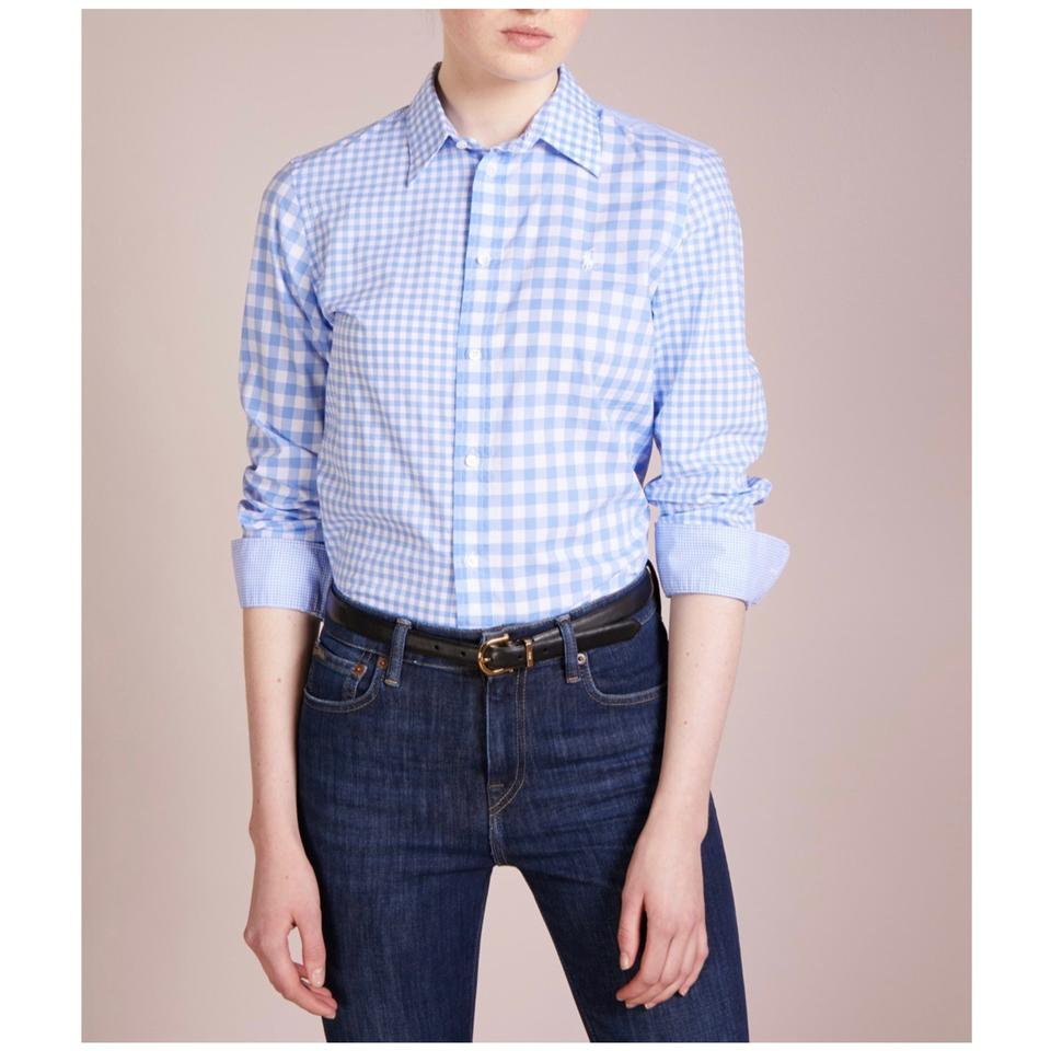 Down Ralph Top Retail Poplin Lauren Blouse Polo Size Blueamp; Gingham 14l61Off White Button rdoxeCB