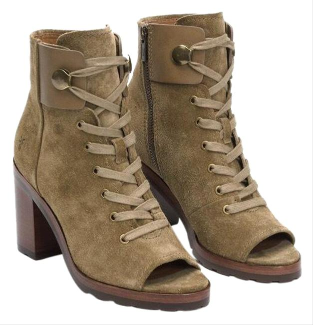 Item - Sand/Green Danica Lug Combat Suede Lace Up Heeled Ankle Peep Boots/Booties Size US 6 Regular (M, B)