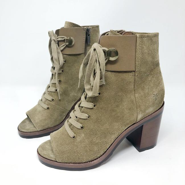 Frye Sand/Green Danica Lug Combat Suede Lace Up Heeled Ankle Peep Boots/Booties Size US 6 Regular (M, B) Frye Sand/Green Danica Lug Combat Suede Lace Up Heeled Ankle Peep Boots/Booties Size US 6 Regular (M, B) Image 2