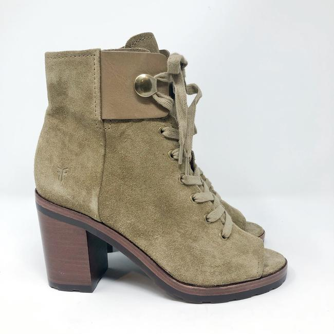 Frye Sand/Green Danica Lug Combat Suede Lace Up Heeled Ankle Peep Boots/Booties Size US 6 Regular (M, B) Frye Sand/Green Danica Lug Combat Suede Lace Up Heeled Ankle Peep Boots/Booties Size US 6 Regular (M, B) Image 4