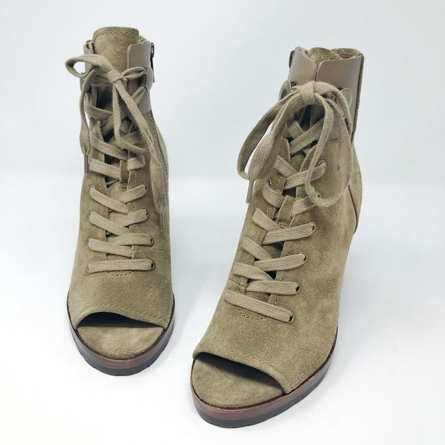 Frye Sand/Green Danica Lug Combat Suede Lace Up Heeled Ankle Peep Boots/Booties Size US 6 Regular (M, B) Frye Sand/Green Danica Lug Combat Suede Lace Up Heeled Ankle Peep Boots/Booties Size US 6 Regular (M, B) Image 5
