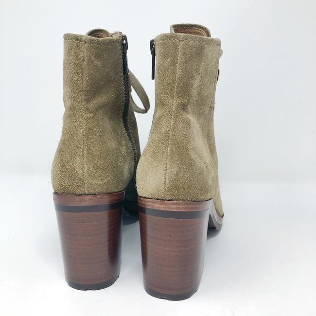 Frye Sand/Green Danica Lug Combat Suede Lace Up Heeled Ankle Peep Boots/Booties Size US 6 Regular (M, B) Frye Sand/Green Danica Lug Combat Suede Lace Up Heeled Ankle Peep Boots/Booties Size US 6 Regular (M, B) Image 6