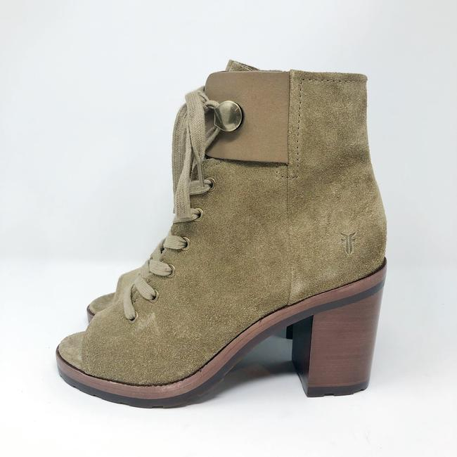 Frye Sand/Green Danica Lug Combat Suede Lace Up Heeled Ankle Peep Boots/Booties Size US 6 Regular (M, B) Frye Sand/Green Danica Lug Combat Suede Lace Up Heeled Ankle Peep Boots/Booties Size US 6 Regular (M, B) Image 8