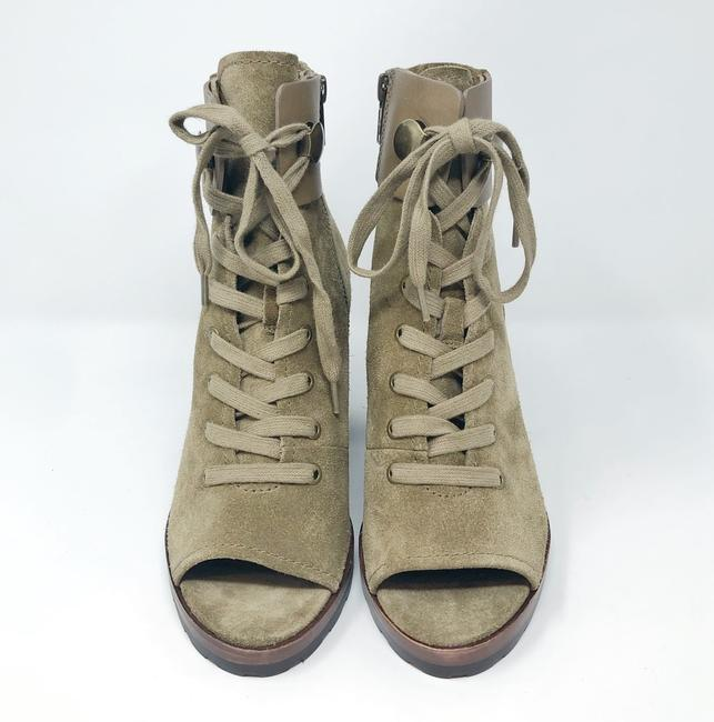 Frye Sand/Green Danica Lug Combat Suede Lace Up Heeled Ankle Peep Boots/Booties Size US 6 Regular (M, B) Frye Sand/Green Danica Lug Combat Suede Lace Up Heeled Ankle Peep Boots/Booties Size US 6 Regular (M, B) Image 9