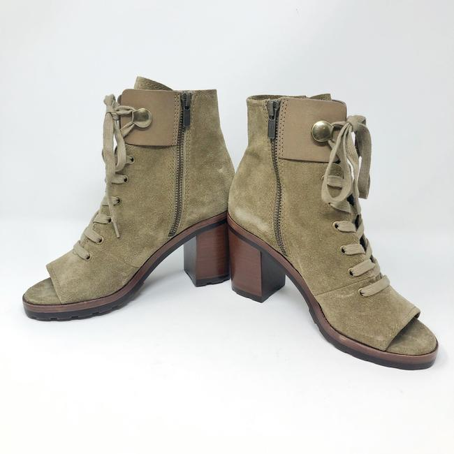 Frye Sand/Green Danica Lug Combat Suede Lace Up Heeled Ankle Peep Boots/Booties Size US 6 Regular (M, B) Frye Sand/Green Danica Lug Combat Suede Lace Up Heeled Ankle Peep Boots/Booties Size US 6 Regular (M, B) Image 10