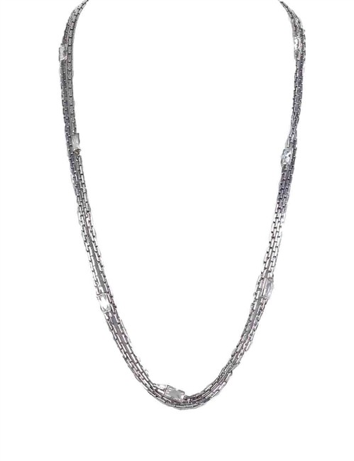 """Item - Silver L Very Hollywood Crystal Channel Set 44""""L Necklace"""