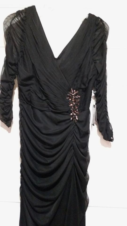Adrianna Papell Black Embellished 34 Sleeve Ruched Long Formal