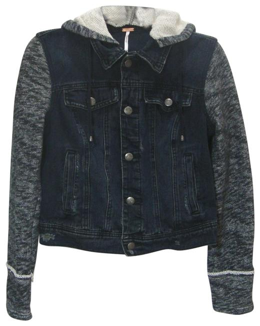 Item - Black and White Distressed Trucker Jean Sleeve Hoodie Jacket Size 6 (S)