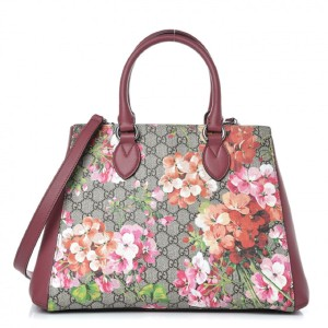Gucci Blooms Roses Floral Leather Tote in Red