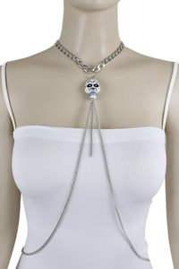 Other Women Silver Metal Necklace Skull Charm Fashion Body Jewelry Halloween